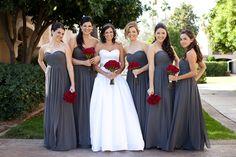 A pop of grey!! Stunning bridesmaids dresses
