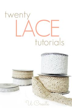 Lace Tutorials - gorgeous ideas for clothing, accessories, decor, and more. - I luv lace. Tons of craft tutorials using lace! So many cute craft projects, I don't know which one I want to make first! 20 Lace Tutorials - UCreate Like this. DIY industrial c Diy Projects To Try, Crafts To Make, Fun Crafts, Decor Crafts, Craft Projects, Craft Ideas, Craft Tutorials, Sewing Tutorials, Sewing Patterns