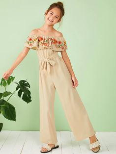 Girls Embroidery Ruffle Detail Belted Bardot Palazzo Jumpsuit - Source by - Kids Summer Dresses, Dresses Kids Girl, Kids Outfits Girls, Cute Dresses, Designer Dresses For Kids, Baby Dresses, Dress Girl, Girls Fashion Clothes, Tween Fashion