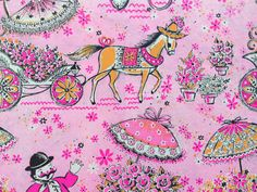 Vintage Gift Wrapping Paper - Mule Cart Flower Vendor - Pink and Orange market - All Occasion, Birthday - 1 Unused Full Sheet Gift Wrap