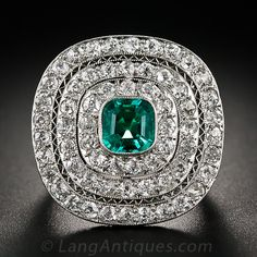 Art Deco Platinum Emerald and Diamond Ring - 30-1-5479 - Lang Antiques I absolutely love this beautiful ring!!
