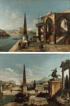 Attribué à Francesco Albotto (1723-1758) - Caprice Vénitien avec un portique gothique et un obélisque. Caprice vénitien avec monument équestre et obélisque. Est. 8000 / 12000 € la paire. Vendu 41 600 € le 6 avril 2016