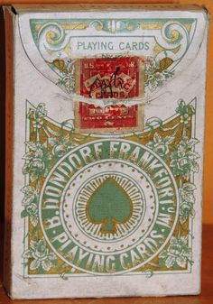 One deck B Dondorf No 162 Playing Cards Frankfurt O/M 1894 2 cent USIR Tax Stamp