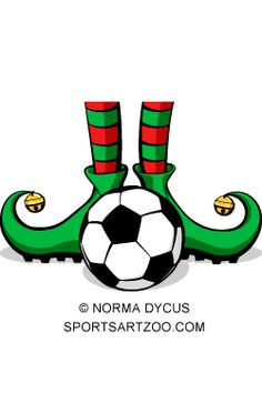 Soccer Christmas Elf Feet by SportsArtZoo #soccer #football #Christmas #clipart