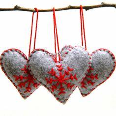 A Set of Felted Heart Christmas Ornament / Felted от Picorella