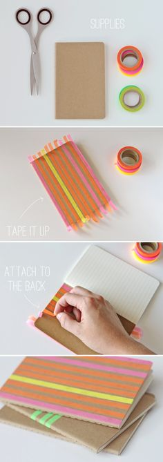 Washi tape and kraft paper notebooks via Paper n stitch