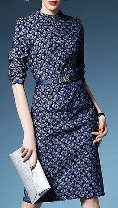 Elegant Stand Collar Long Sleeve Printed Denim Midi Dress