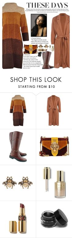 """Untitled #2464"" by anarita11 ❤ liked on Polyvore featuring Boohoo, UGG, Prada, Gucci and Stila"