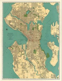 Antique map  Vintage map  Antique Seattle city by AncientShades, $75.00