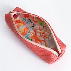 Leather pen case with Japanese Traditional pattern by manakaban