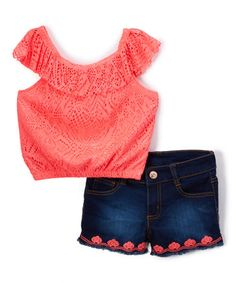 Neon Coral Lace Yoke Top & Denim Shorts - Toddler & Girls