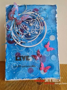 {ARTplorations Stencil Blog Hop Day 1} Card by Julie using ARTplorations Bubble stencil and Trendy Butterflies stamps