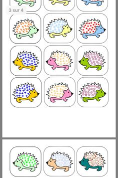 Card Games For Kids, Puzzles For Kids, Activities For Kids, Busy Bags, Teaching French, Autumn Theme, Preschool, Clip Art, Hedgehogs