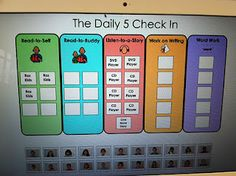 This is a great way to do an  interactive Daily 5 Check in board.  Students just drag their picture to their choice, and if all the spaces are taken, they will know they have to make a new choice!  Outstanding!