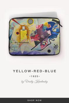 """Yellow-Red-Blue"" by Vasily Kandinsky Kandinsky, 7 And 7, Back To Black, Laptop Sleeves, Snug, Yellow, Fabric, Red, Tejido"