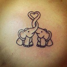 Outlined Two Elephants Tattoo - Baby Elephant Tattoo Designs - The Best Elephant Tattoo Designs - Cute Elephant Tattoo Designs and Ideas - Sexy Thigh Tattoo, Small Elephant Tattoo, Elephant Outline, Elephant Tattoo Meanings Palm Tattoos, Bff Tattoos, Monkey Tattoos, Best Friend Tattoos, Trendy Tattoos, Unique Tattoos, Sexy Tattoos, Tatoos, Wrist Tattoos
