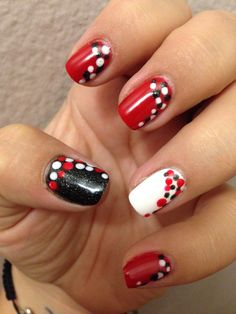 Opi gel big apple red, gelish arctic white and gelish the nauty list. My polka dot nails. :-)