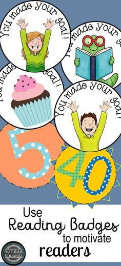 Celebrate those reading milestones!  Whether your students are reading 10 or 40 books -- reading badges are great to motivate and celebrate!  Fun reading idea!