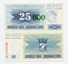 "BOSNIA Banknote 25000 DINARA 1993. Short ""0"" UNC P54a x 5 note Lot - Great Deal"
