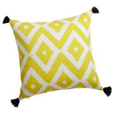 cotton cushion in yellow / white 45 x 45cm | Maisons du Monde