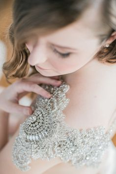Gorgeous beaded straps: http://www.stylemepretty.com/maryland-weddings/annapolis/2015/05/20/glamorous-masquerade-wedding-inspiration-in-annapolis/ | Photography: Lissa Ryan - http://www.lissaryanphotography.com/