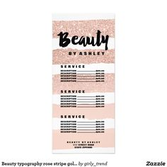 Hello beautiful gold typography marble price list rack card beauty typography rose stripe gold price list rack card reheart Choice Image