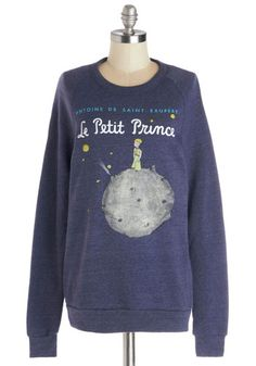 Novel Tee Sweatshirt in Prince by Out of Print - Knit, Blue, Novelty Print, Casual, Sweatshirt, Long Sleeve, Better, Exclusives, Blue, Long Sleeve, Nifty Nerd, Crew, Mid-length