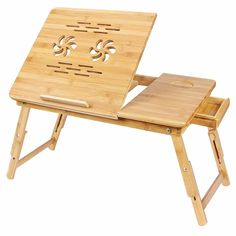 Bamboo Laptop Desk Serving Bed Tray Breakfast Table Tilting Top with Drawer Portable Laptop Table, Portable Workstation, Laptop Desk For Bed, Lap Desk, Laptop Stand, Desk Bed, Computer Laptop, Bed Tray Table, Table Reglable
