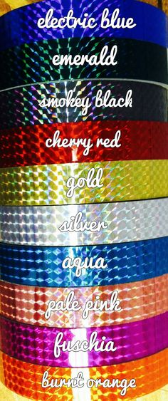 HOLOGRAPHIC TAPE By Colorado Hula Hoops - http://www.coloradohulahoops.com/60-ft-roll-of-34-metallic-holographic-hula-hoop-tape-many-colors-to-choose-from