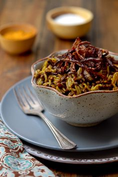 Rice with Caramelized Onions & Lentils