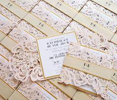 Rose quartz Laser cut wedding invitations, Blush gold wedding invitations {Broadway design, New Spring Summer 2016 Collection}