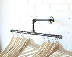 Clothing Rack - Galvanized Steel Pipe - Silver -Retail Display - Industrial - 10…