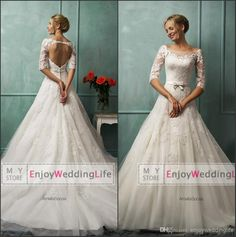 2014 Sexy New 1/2 Long Sleeves Scoop Lace A-Line Wedding Dresses | Buy Wholesale On Line Direct from China