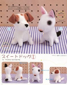 Bull Terrier and Jack Russel Puppy Plush Sewing Pattern PDF  Patron Peluche Chiots. $2.90, via Etsy.