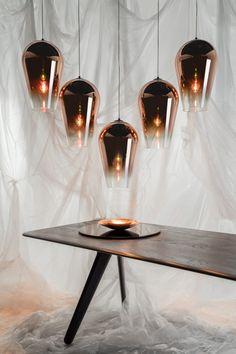 Fade Pendant Copper with Slab Table - Tom Dixon