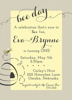 BEE Day Birthday Invitation, yellow and gray, honeybee, PRINTABLE by Libby Lane Press