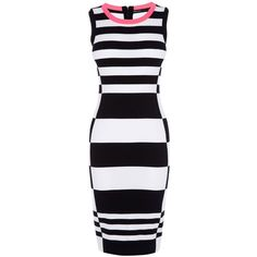 Karen Millen Neon Stripe Yarn Knit Dress (115 AUD) ❤ liked on Polyvore featuring dresses, panel dress, no sleeve dress, striped knit dress, sleeveless dress and stripe dresses