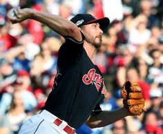Cleveland Indians Josh Tomlin pitching against the Toronto Blue Jays, first inning, game 2 of the ALCS at Progressive Field, in Cleveland, Ohio on Oct. 15, 2016.  Indians won 2-1  (Chuck Crow/The Plain Dealer)