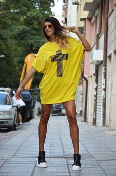 Yellow Cotton Cross Tunic / Oversize Tunic Top / by SSDfashion