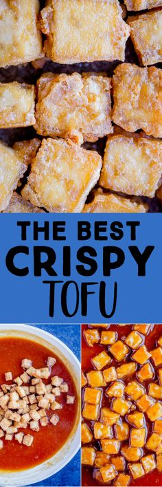 This is the best and easiest Crispy Tofu Recipe!  You only need a few ingredients and requires just one tablespoon of oil.  It's baked to crispy perfection in the oven and can be enjoyed as a snack, with a flavorful sauce, in a stir fry and many other ways! #tofurecipe #crispytofu #bakedtofu #vegan