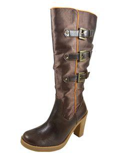 Bottes femme bi-matière satin à boucles et talons hauts gomme de 9 cm orange: Amazon.fr: Chaussures et Sacs