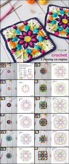 Aprende a hacer un granny en capas tejido a #crochet paso a paso.  Pusimos cada hilera por separado y la foto del tejido al ir avanzando 😃 #grannysquare Crochet Quilt, Crochet Mandala, Mandala Pattern, Crochet Motif, Knit Crochet, Crochet Patterns, Granny Square Crochet Pattern, Crochet Squares, Crochet Granny
