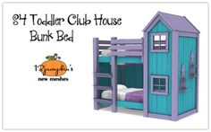 Sims 4 CC's - The Best: Toddler Club House Bunk Bed by - toddler room ideas 4 Bunk Beds, House Bunk Bed, Toddler Bunk Beds, Custom Bunk Beds, Bunk Beds Built In, Toddler Rooms, Kid Beds, Mods Sims 4, Sims 2