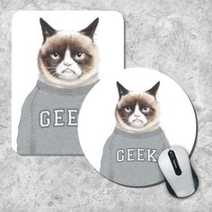 Grumpy Cat Mousepad Geek Mouse Pad Funny Mousepad Animal Mousepad  Watercolor Mouse Mat Round Mousepad Custom Mousepad Funny Gift Pad (11.90 USD) by MousePadCenter