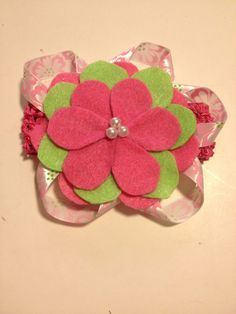 Infant Toddler Girls Pink and Green Flower Crochet Headpiece Hairpiece Hairbow Hair Accessories on Etsy, $10.00