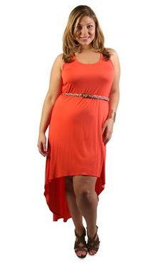 plus size high low belted maxi dress  $34.50