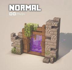 Minecraft Portal, Casa Medieval Minecraft, Minecraft Castle, Cute Minecraft Houses, Minecraft Room, Minecraft Funny, Amazing Minecraft, Minecraft Blueprints, Minecraft Crafts