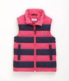 Shop Outerwear: Stripe Puffer Vest for Girls | Vineyard Vines