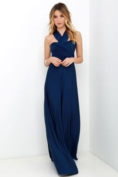 The Always Stunning Convertible Navy Blue Maxi Dress includes two, 82 long lengths of fabric that sprout from an elastic waistband and wrap into dozens of possible bodice styles! Long Fall Dresses, Best Maxi Dresses, Long Sleeve Evening Dresses, Prom Dresses Online, Dresses 2016, Grad Dresses, Long Skirts, Dress Online, Wedding Dresses