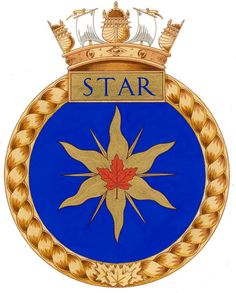 Badge of H.M.C.S. Star Royal Canadian Navy, Badges, Navy Uniforms, Star Wars, Emblem, Crests, British Army, Coat Of Arms, Armed Forces